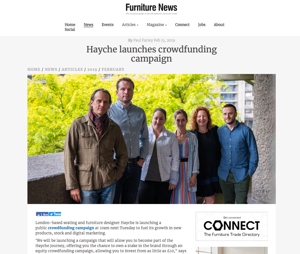 Furniture News Crowdfunding Hayche