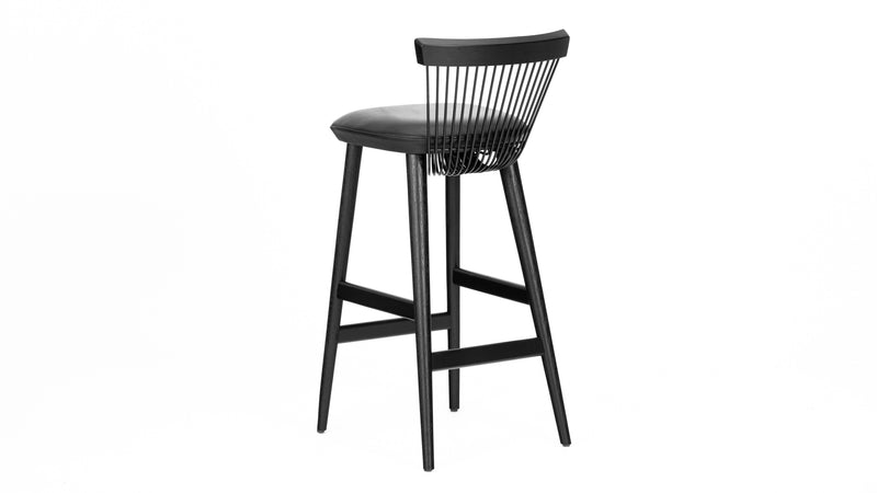 WW Bar Stool - All Black - Leather - 75cm, Bar Stool, Buy from Hayche.com