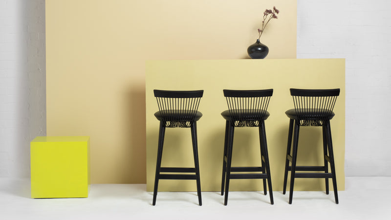 WW Bar Stool - Black - Leather - 75cm