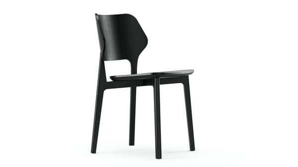 Black Backer Plywood & Solid Oak Dining Chair Daniel Schofield - Modern Contract Furniture Hayche