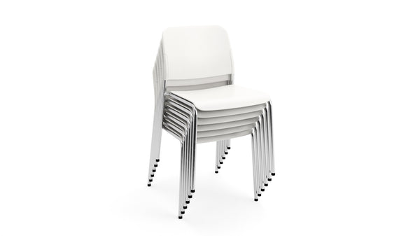 Beattie - Stackable White & Chrome Plastic Chair - Contract Furniture - Hayche London