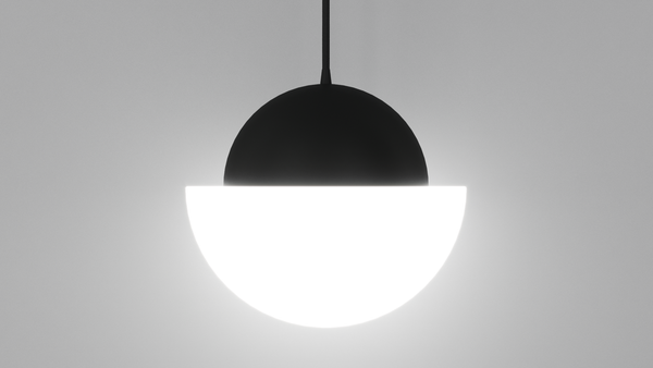Demi Pendant Light - Black and Opal Glass