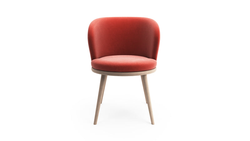 Gabi Armchair - Coral Red Fabric & Natural Wood - Hayche - Clerkenwell London