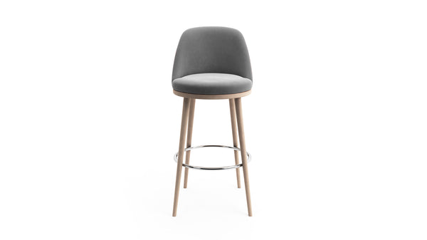 Gabi Bar Stool - Grey Fabric & Natural Wood - Hayche - Clerkenwell London