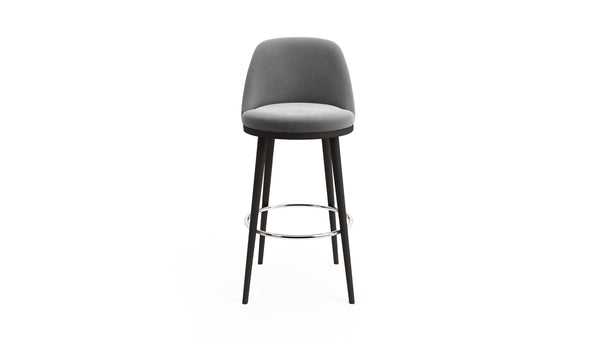 Gabi Bar Stool - Grey Fabric & Black Wood - Hayche - Clerkenwell London