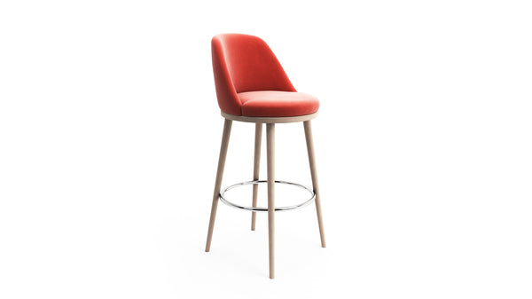 Gabi Bar Stool - Coral Red Fabric & Natural Wood - Hayche - Clerkenwell London