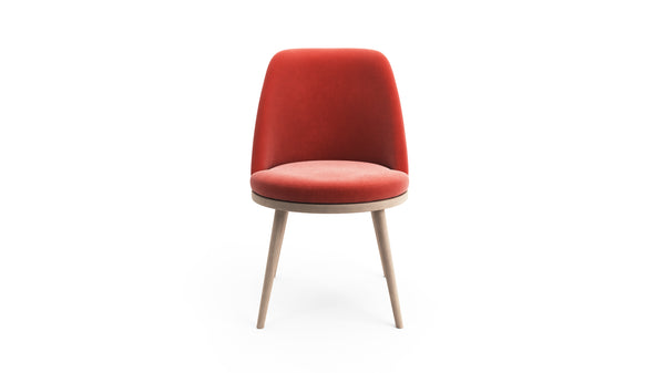 Gabi Dining Chair - Coral Red Fabric - Natural Beech Wood - Hayche - Clerkenwell London