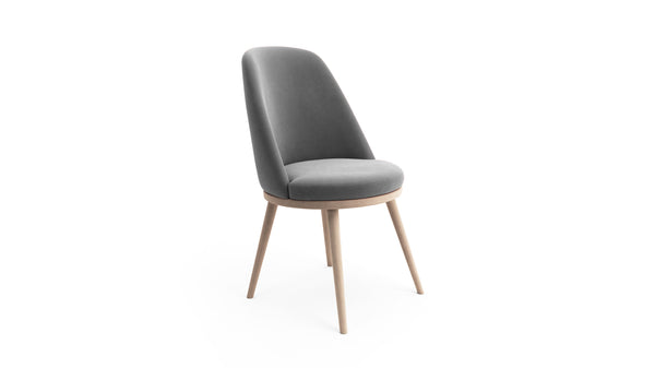 Gabi Dining Chair - Grey Fabric - Natural Beech Wood - Hayche - Clerkenwell London