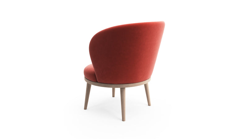 Gabi Lounge Chair - Coral Red Fabric - Natural Beech Wood - Hayche - Clerkenwell London