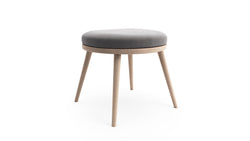Gabi Foot Stool - Grey Fabric - Natural Beech Wood - Hayche - Clerkenwell London