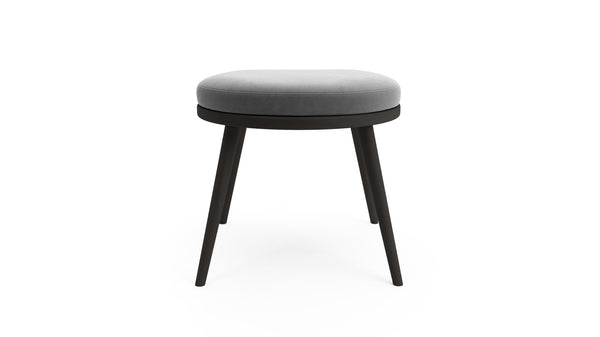 Gabi Foot Stool - Grey Fabric - Black Beech Wood - Hayche - Clerkenwell London