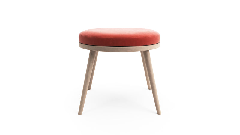 Gabi Foot Stool - Coral Red Fabric - Natural Beech Wood - Hayche - Clerkenwell London