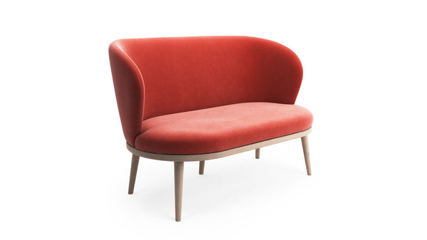Gabi Sofa - Coral Red Fabric - Natural Beech Wood - Hayche - Clerkenwell London