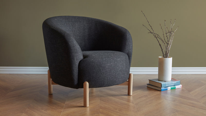 Glover Armchair - Dark Grey & Oak