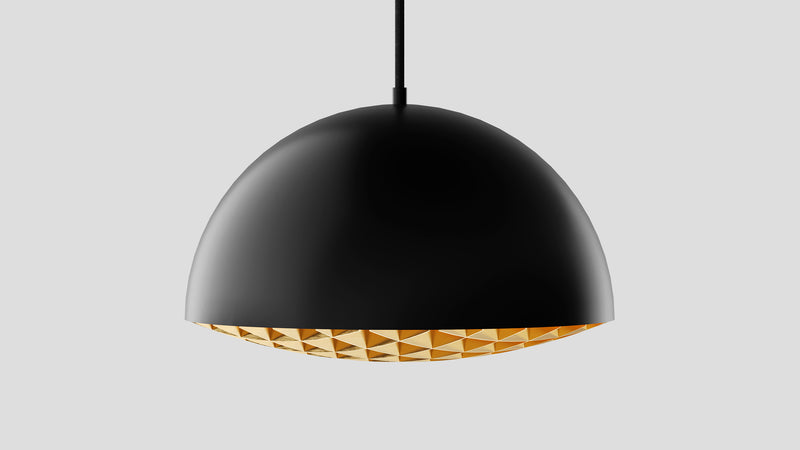 Grille Pendant Light - Black & Brass