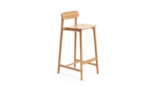 Kensington Bar Stool - Natural Oak - Leather, Buy from Hayche.com - Faudet Harrison
