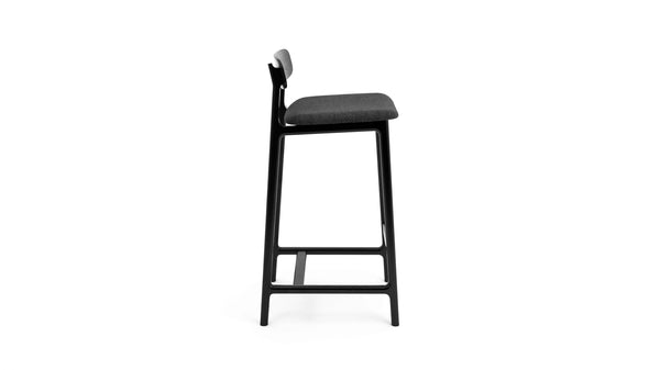 Kensington Bar Stool -  Black Oak & Felt Seat