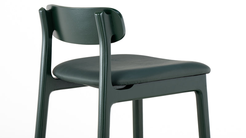 Kensington Bar Stool - Deep Green - Green Leather - Members Club - Faudet Harrison - Hayche