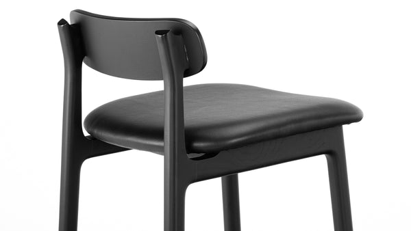 Kensington Bar Stool - Black - 75cm, Leather Bar Stool, Buy from Hayche.com - Faudet Harrison