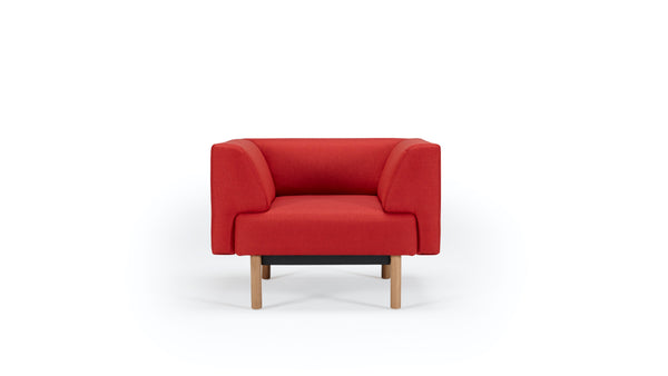 Mayall Sofa - Red & Oak - Armchair
