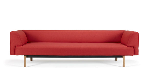 Mayall Sofa - Red & Oak - 3 seat