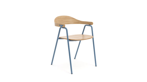Otto Armchair - Oak & Powder Blue