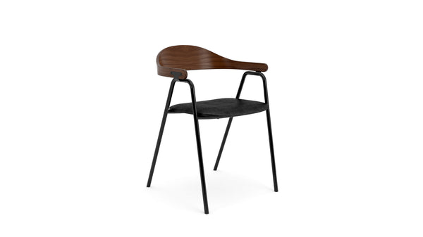 Otto Armchair - Walnut & Black Leather, Stacking Dining Chair - Buy from Hayche.com