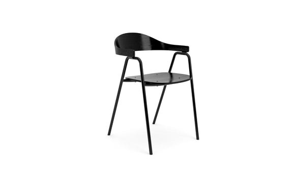 Otto Armchair - Black Ash Veneer & Black Powder Coated Legs