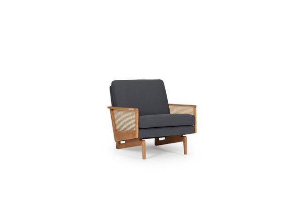 Retro Cane Webbing Armchair - Fabric