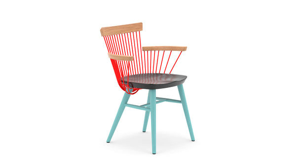WW Armchair CS3 - Limited Edition - Light Blue, Deep Blue, Red & Oak