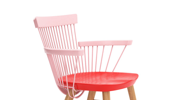 WW Armchair CS1 - Limited edition - Pink, Red & Oak