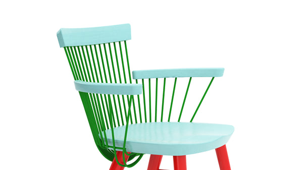 WW Armchair CS4 - Limited edition - Light Blue, Green & Red