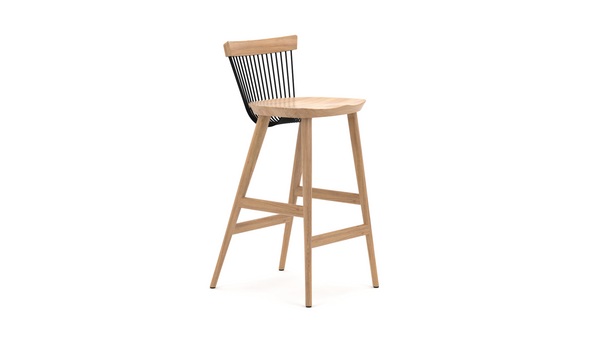 WW Bar Stool - Oak & Black