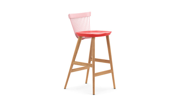 WW Bar Stool CS1 - Limited edition - Pink, Red & Oak