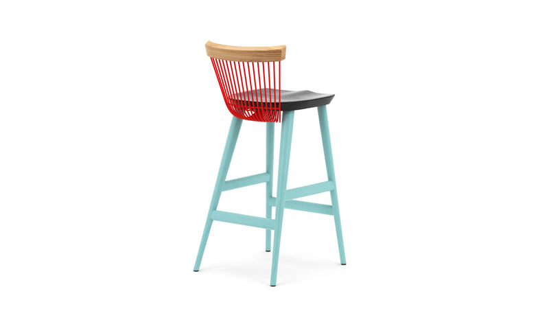 WW Bar Stool CS3 - Limited Edition - Light Blue, Deep Blue, Red & Oak