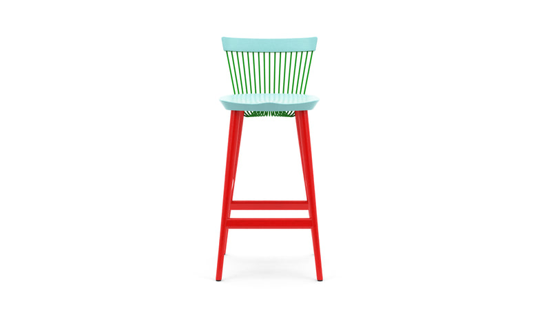 WW Bar Stool CS4 - Limited edition - Light Blue, Green & Red