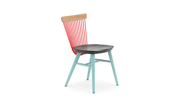 WW Side Chair CS3 - Limited Edition - Light Blue, Deep Blue, Red & Oak