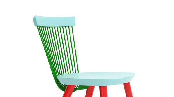 WW Side Chair CS4 - Limited edition - Light Blue, Green & Red