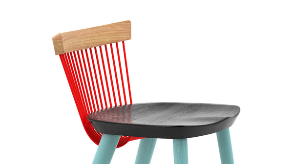 WW Counter Stool CS3 - Limited Edition - Light Blue, Deep Blue, Red & Oak