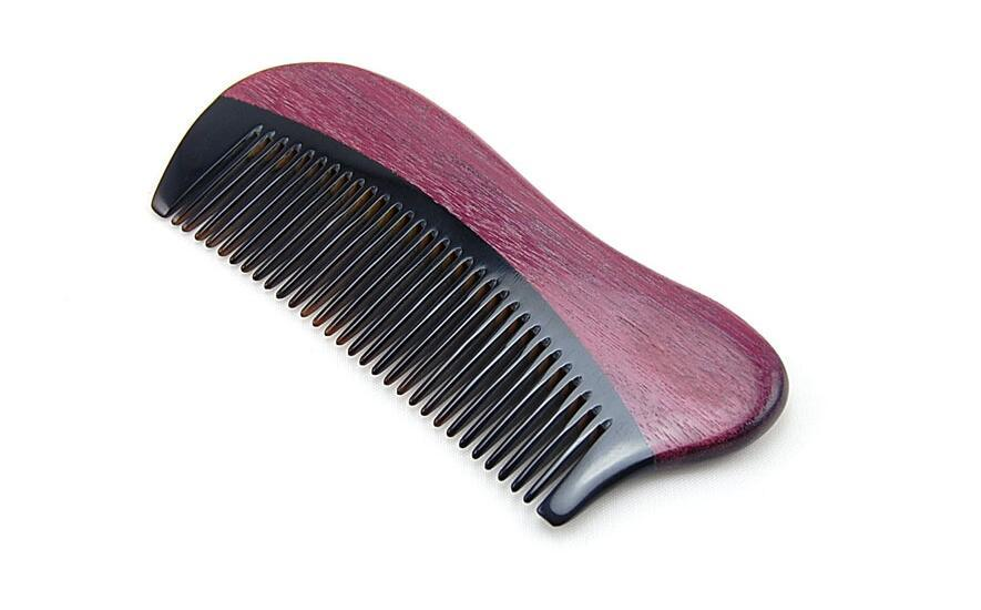 Natural Violet Ox Horn Handmade Narrow Tooth Wood Comb