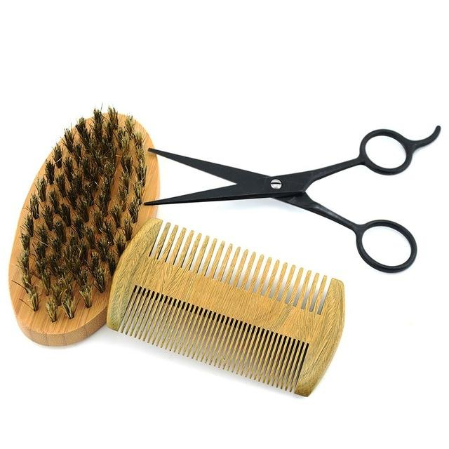 Beard Grooming Kit with Scissors, Bristled Beard Brush & Natural Beard Comb