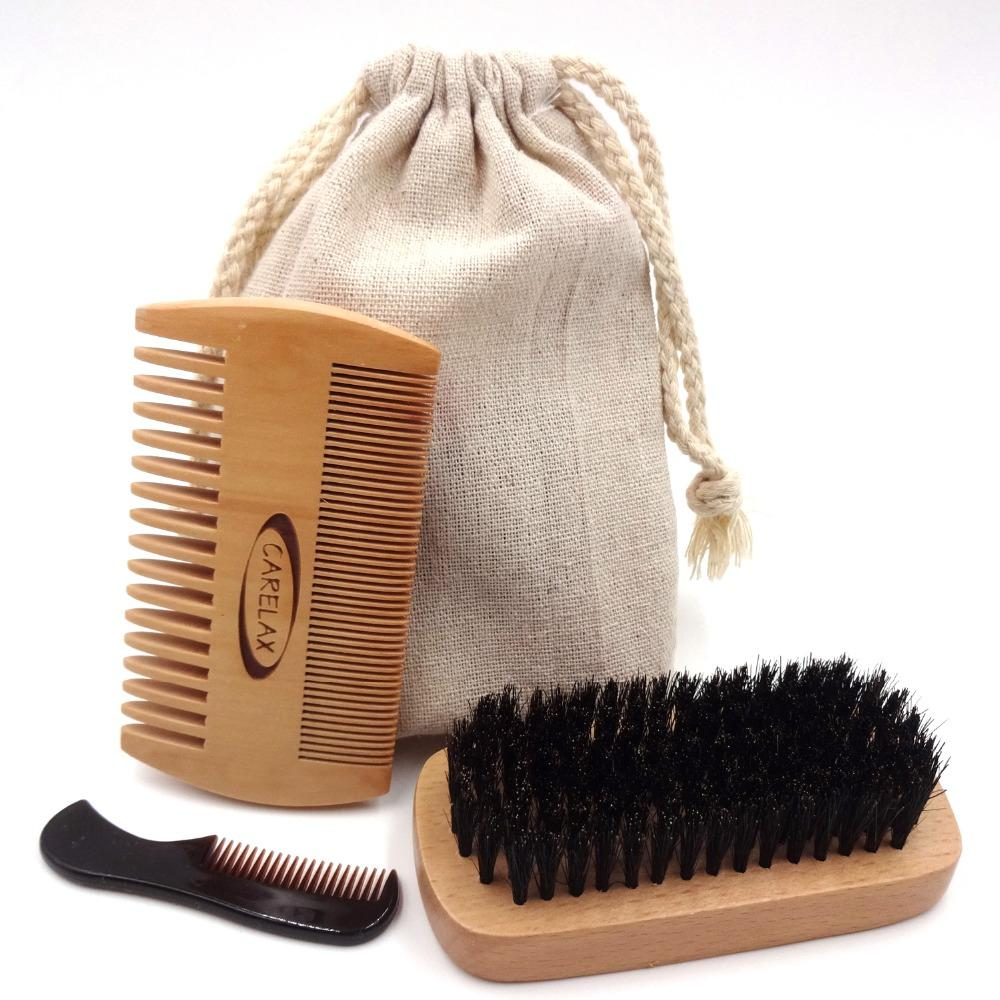Beard Grooming Set with Wooden Boar Hair Beard Brush, Bamboo Comb and Small Pocket Beard Comb