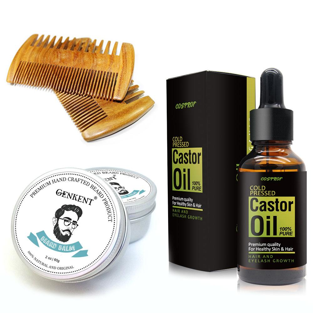 Beard Moisturizing Kit with Organic Beard Balm,Handmade Beard Comb & 30ml Beard Growth Castor Oil