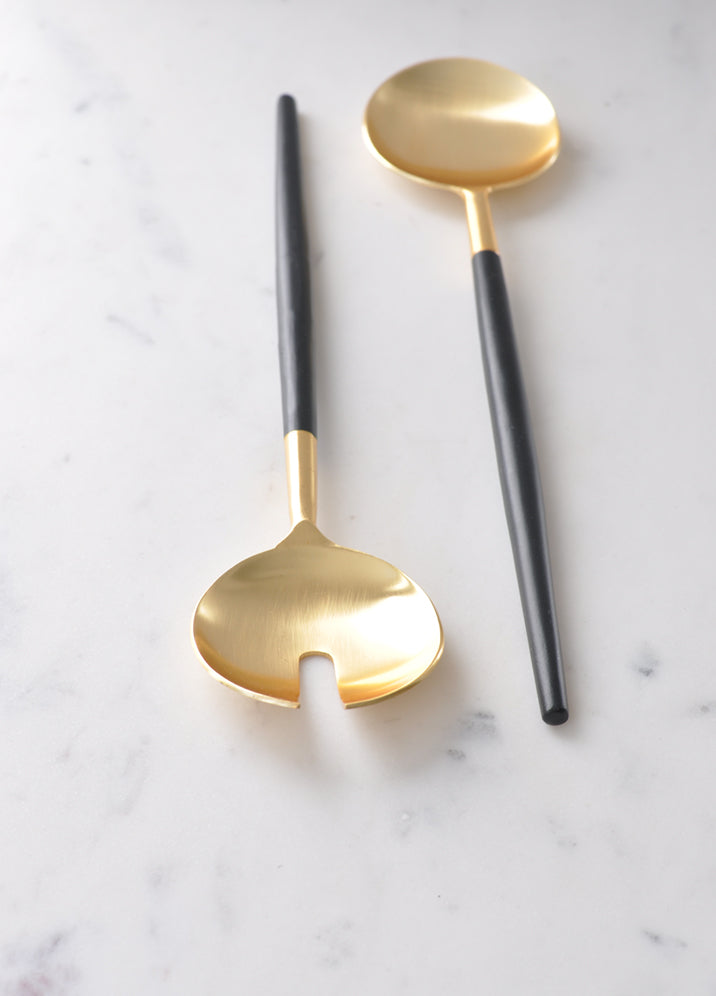 Black and Gold Serving Spoons