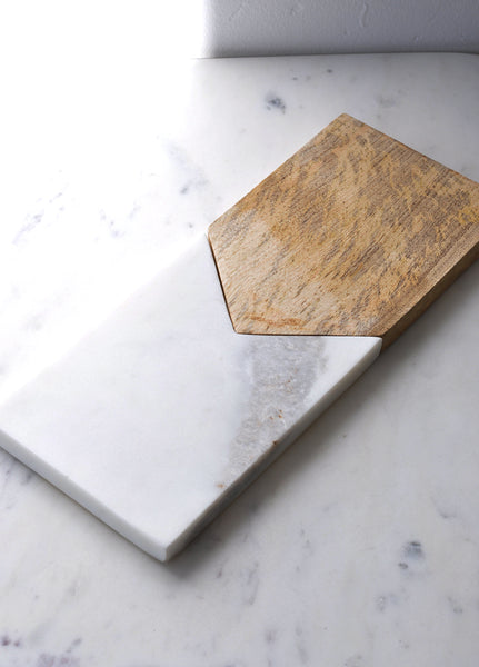 Marble & Wood Two Piece Cutting Board