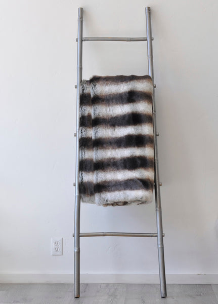 Chinchilla Gray Faux Fur Throw