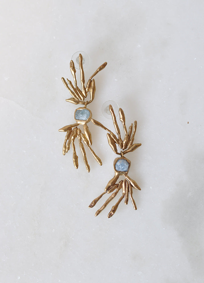 Brass Pendant Earrings with an Aquamarine Stone