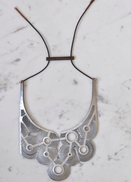 silver laser cut leather statement necklace
