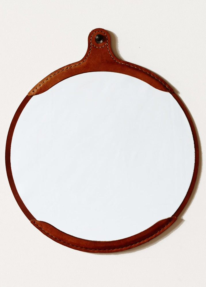 Leather Captain's Round Mirror