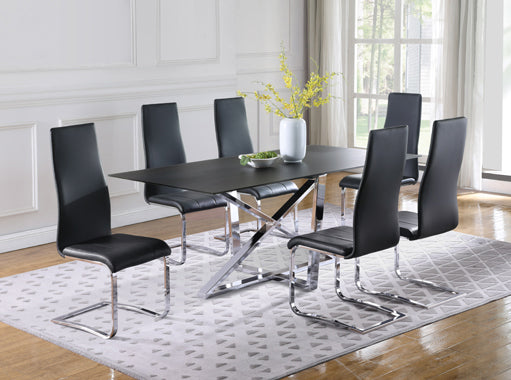 Anges High Back Dining Chairs Black And Chrome
